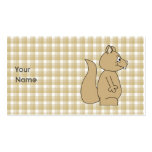 Squirrel on Check Pattern Background. Business Card Templates