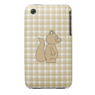 Squirrel on Check Pattern Background. iPhone 3 Cover