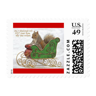 Squirrel on Christmas Sleigh stamps
