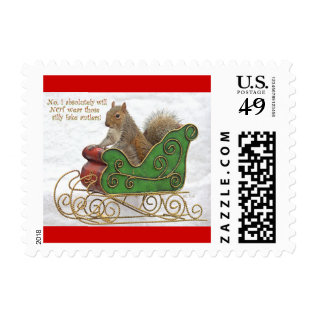 Squirrel On Christmas Sleigh Stamps at Zazzle