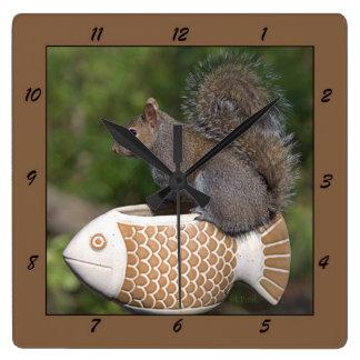 Squirrel on Fish - Clock