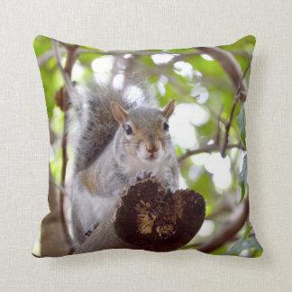 squirrel on log cute animal c throw pillow
