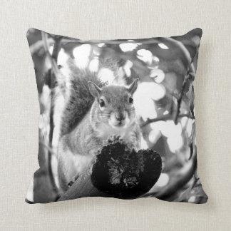 squirrel on log cute bw animal throw pillows