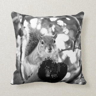 squirrel on log cute bw animal throw pillow