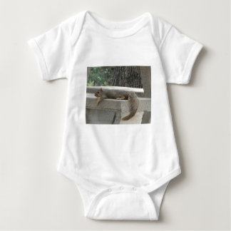 Squirrel on picnic table baby bodysuit