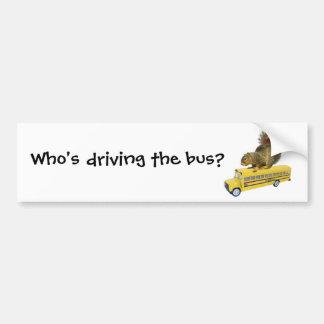 Squirrel on School Bus Bumper Sticker