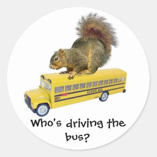 Squirrel on School Bus Classic Round Sticker