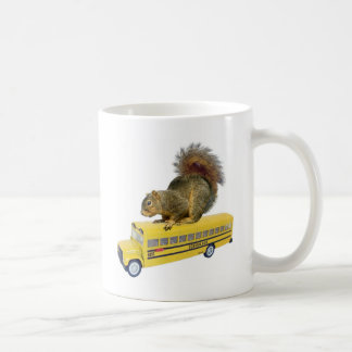 Squirrel on School Bus Coffee Mugs