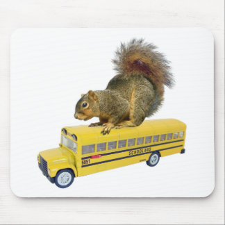 Squirrel on School Bus Mouse Pad