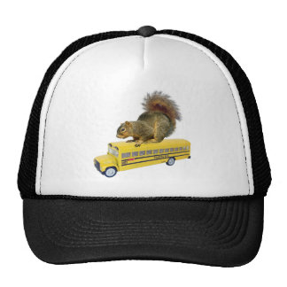 Squirrel on School Bus Trucker Hat