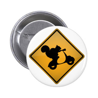 Squirrel on Scooter Pinback Button