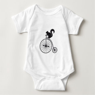 squirrel on vintage bicycle baby bodysuit