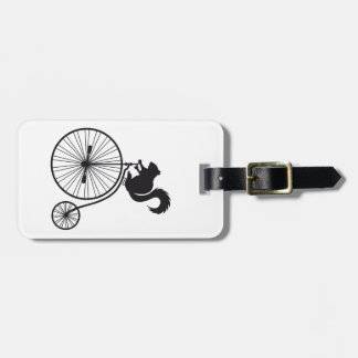 squirrel on vintage bicycle luggage tags
