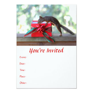 Squirrel Opening Christmas Present 5x7 Paper Invitation Card