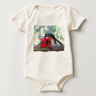 Squirrel Opening Christmas Present Baby Bodysuit