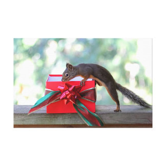 Squirrel Opening Christmas Present Canvas Prints
