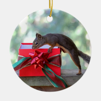 Squirrel Opening Christmas Present Ceramic Ornament