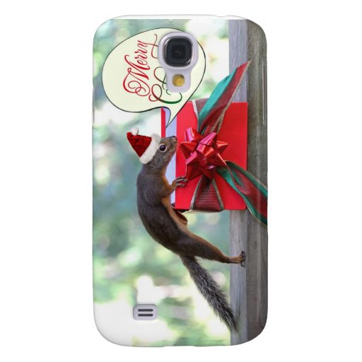 Squirrel Opening Christmas Present Galaxy S4 Case