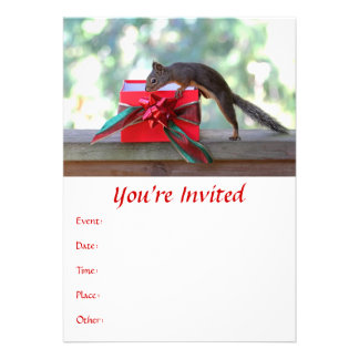 Squirrel Opening Christmas Present Personalized Invitations