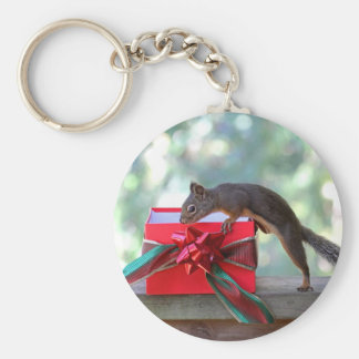 Squirrel Opening Christmas Present Key Chains