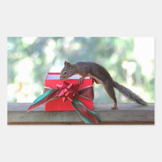 Squirrel Opening Christmas Present Rectangular Sticker