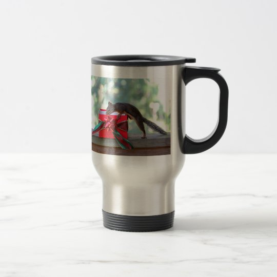 Squirrel Opening Christmas Present Travel Mug