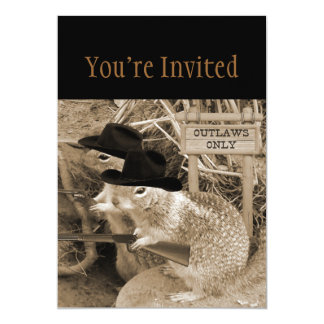 Squirrel Outlaws In The Old West 5x7 Paper Invitation Card