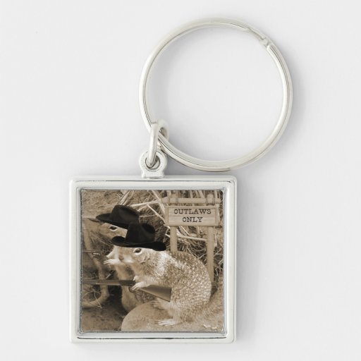 Squirrel Outlaws In The Old West Keychain