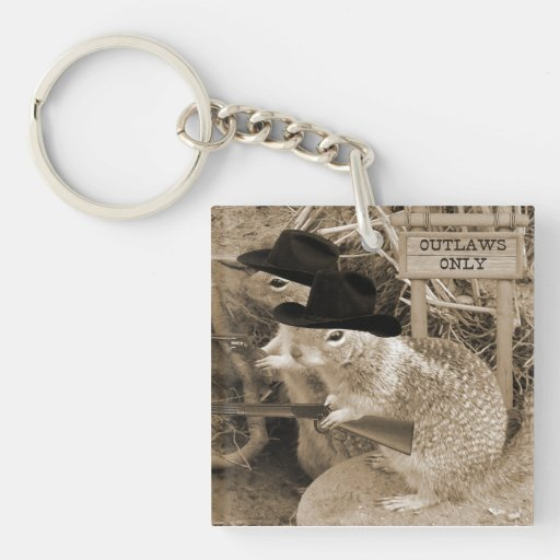 Squirrel Outlaws In The Old West Square Acrylic Key Chain