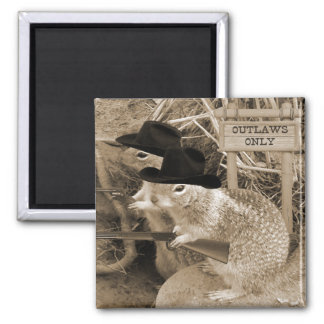 Squirrel Outlaws In The Old West 2 Inch Square Magnet
