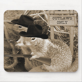 Squirrel Outlaws In The Old West Mousepads