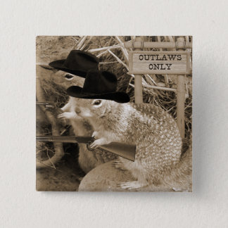 Squirrel Outlaws In The Old West Pinback Button