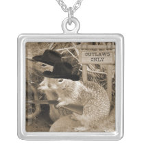 Squirrel Outlaws In The Old West Silver Plated Necklace