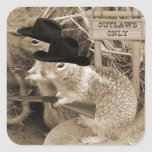 Squirrel Outlaws In The Old West Square Stickers