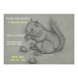 Squirrel Pencil Drawing Play date Party Invitation