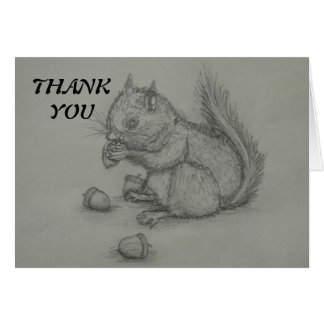 Squirrel Pencil Drawing Thank You Greeting Card