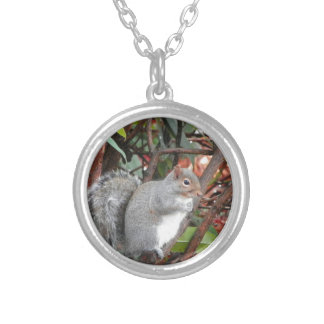 Squirrel Photo Gift Silver Plated Necklace