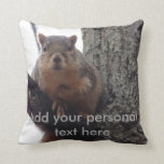 "Squirrel pillow with personal text<br><div class=""desc"">Mischievous looking squirrel with a text box that you can edit to make the item more suited for yourself.</div>"