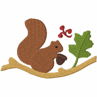 Squirrel Play Embroidered Hooded Sweatshirt