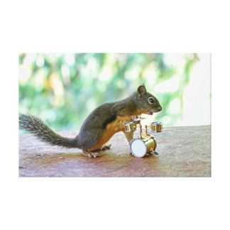 Squirrel Playing Drums Stretched Canvas Print