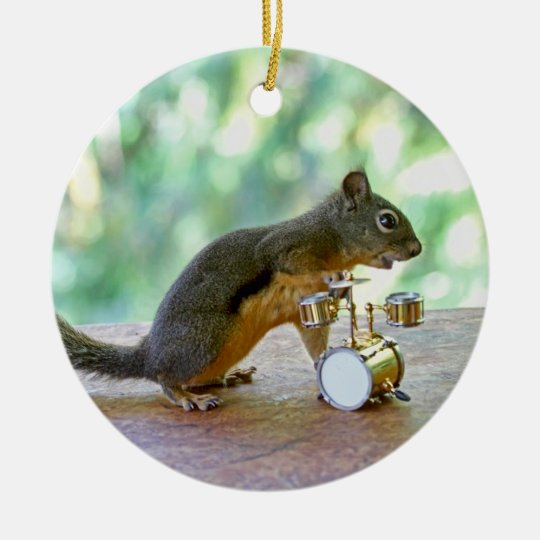Squirrel Playing Drums Ceramic Ornament
