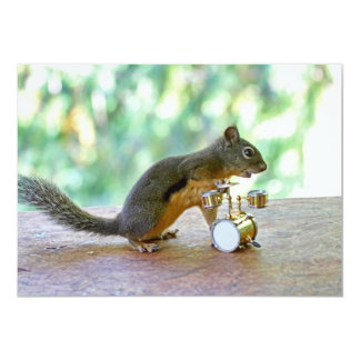 """Squirrel Playing Drums 5"""" X 7"""" Invitation Card"""