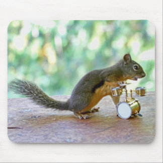 Squirrel Playing Drums Mouse Pad