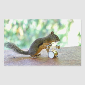 Squirrel Playing Drums Rectangular Sticker