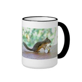 Squirrel Playing Drums Ringer Coffee Mug