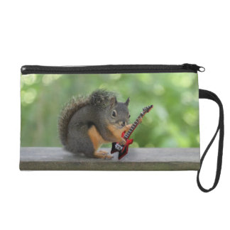 Squirrel Playing Electric Guitar Wristlet Purse