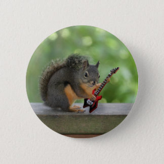 Squirrel Playing Electric Guitar Button