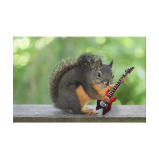 Squirrel Playing Electric Guitar Stretched Canvas Prints