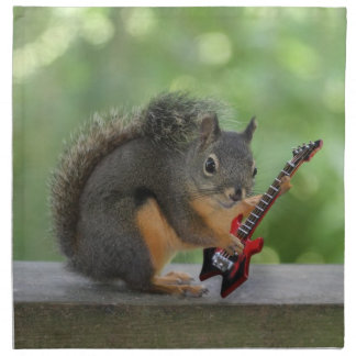 Squirrel Playing Electric Guitar Cloth Napkin