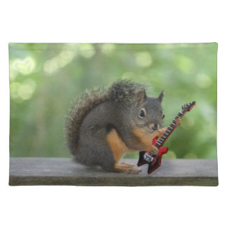 Squirrel Playing Electric Guitar Cloth Placemat